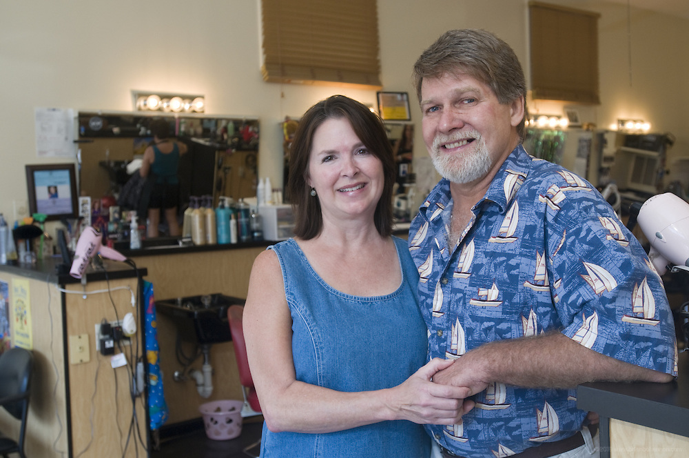 Cheryl Allen, owner of The Place to Go Hairstyling Highlands location at 1607 Bardstown Road in Louisville, Ky., and her husband Jim. (Photo by Brian Bohannon)