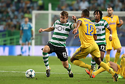 October 31, 2017 - Lisbon, Portugal - Juventus' Brazilian defender Alex Sandro vies with Sporting's defender Stefan Ristovsk from Macedonia (L)  during the UEFA Champions League football match Sporting CP vs Juventus at the Alvalade stadium in Lisbon, Portugal on October 31, 2017. (Credit Image: © Pedro Fiuza/NurPhoto via ZUMA Press)
