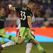 Kenny Cooper, Seattle Sounders,  in action during the New York Red Bulls Vs Seattle Sounders, Major League Soccer regular season match at Red Bull Arena, Harrison, New Jersey. USA. 20th September 2014. Photo Tim Clayton