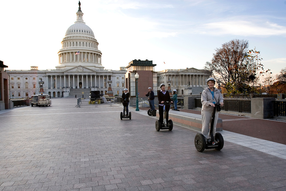 People on segways following a tour of Washington, DC on November 19, 2009. This picture follows the story of Dan Brown's  Lost Symbol book.
