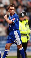 Photo: Paul Greenwood.<br />Burnley FC v Cardiff City. Coca Cola Championship. 09/04/2007.<br />Dejection at the final whistle for Cardiff's Steven McPhail
