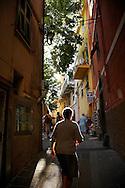 Woman at the streets of Corniglia