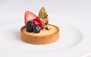 A dessert prepared by chefs for the luxury vessels within the Cunard Line. Picture date: Tuesday March 8, 2016.<br /> Photograph by Christopher Ison &copy;<br /> 07544044177<br /> chris@christopherison.com<br /> www.christopherison.com