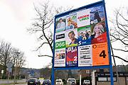 Nederland, the Netherlands, Ubbergen, 28-2-2018 Vierkiezingsborden voor de gemeenteraadsverkiezingen die 21 maart gehouden worden . Op die dag kan ook een stem uitgebracht worden voor het waarschijnlijk laatste referendum over de sleepwet, de wet op de inlichtingen en veiligheidsdiensten, zoals de AIVD  . In dit dorp doen veel lokale partijen mee. Foto: Flip Franssen