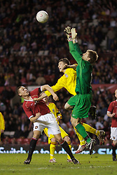 Manchester, England - Thursday, April 26, 2007: Manchester United's goalkeeper Ron-Robert Zieler challenges Liverpool's Craig Lindfield during the FA Youth Cup Final 2nd Leg at Old Trafford. (Pic by David Rawcliffe/Propaganda)
