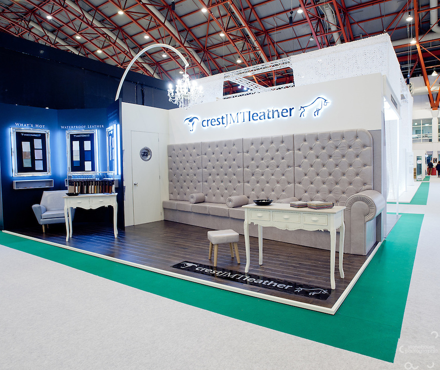 Crest JMT Leather stand at The 100% Design show, Earls Court..Photographs by Richard Stonehouse / Stonehouse Photographic.07714159589.www.stonehousephotographic.com