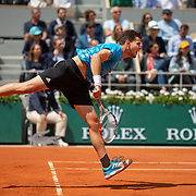 PARIS, FRANCE June 08.  Dominic Thiem of Austria  in action against Novak Djokovic of Serbia on Court Philippe-Chatrier during the Men's Singles Semifinals match at the 2019 French Open Tennis Tournament at Roland Garros on June 8th 2019 in Paris, France. (Photo by Tim Clayton/Corbis via Getty Images)