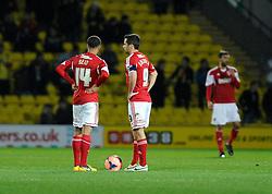 Bristol City's Bobby Reid and Bristol City's Sam Baldock getting ready to restart the game - Photo mandatory by-line: Dougie Allward/JMP - Tel: Mobile: 07966 386802 14/01/2014 - SPORT - FOOTBALL - Vicarage Road - Watford - Watford v Bristol City - FA Cup - Third Round - replay