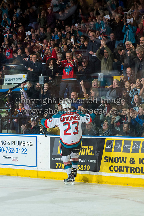 KELOWNA, CANADA - MARCH 31: Reid Gardiner #23 of the Kelowna Rockets celebrates a first period goal against the Kamloops Blazers on March 31, 2017 at Prospera Place in Kelowna, British Columbia, Canada.  (Photo by Marissa Baecker/Shoot the Breeze)  *** Local Caption ***