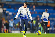 Chelsea midfielder Mason Mount (19) warms up during the Premier League match between Chelsea and Arsenal at Stamford Bridge, London, England on 21 January 2020.