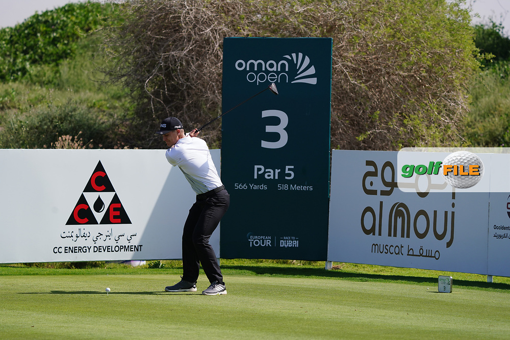 Callum Hill (SCO) on the 3rd during Round 2 of the Oman Open 2020 at the Al Mouj Golf Club, Muscat, Oman . 28/02/2020<br /> Picture: Golffile   Thos Caffrey<br /> <br /> <br /> All photo usage must carry mandatory copyright credit (© Golffile   Thos Caffrey)