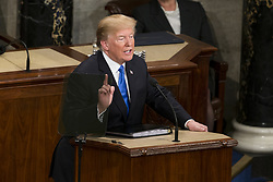 January 30, 2018 - Washington, District Of Columbia, US - United States President DONALD J. TRUMP delivers the State Of The Union Address to a joint session of Congress at the United States Capitol. (Credit Image: © Alex Edelman via ZUMA Wire)