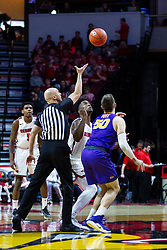 NORMAL, IL - December 31: Bret Smith tosses the ball for the tip off with Rey Idowu and Austin Phyfe during a college basketball game between the ISU Redbirds and the University of Northern Iowa Panthers on December 31 2019 at Redbird Arena in Normal, IL. (Photo by Alan Look)