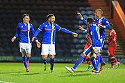 GOAL Rueben Noble-Lazarus celebrates scoring 2-0 Rochdale  during the EFL Sky Bet League 1 match between Rochdale and Walsall at Spotland, Rochdale, England on 22 November 2016. Photo by Daniel Youngs.