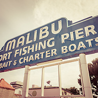 Malibu Sign Sport Fishing Pier picture. The famous Malibu sign is along Pacific Coast Highway in Southern California in the United States.