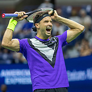 2019 US Open Tennis Tournament- Day Nine.  Grigor Dimitrov of Bulgaria celebrates his five set victory against Roger Federer of Switzerland in the Men's Singles Quarter-Finals match on Arthur Ashe Stadium during the 2019 US Open Tennis Tournament at the USTA Billie Jean King National Tennis Center on September 3rd, 2019 in Flushing, Queens, New York City.  (Photo by Tim Clayton/Corbis via Getty Images)