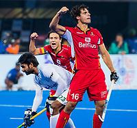 BHUBANESWAR (INDIA) - Alexander Hendickx (Belgie) heeft de stand op 1-0 gebracht tijdens Belgie-Pakistan bij het WK Hockey heren.  op de achtergrond Thomas Briels (Belgie) . COPYRIGHTKOEN SUYK