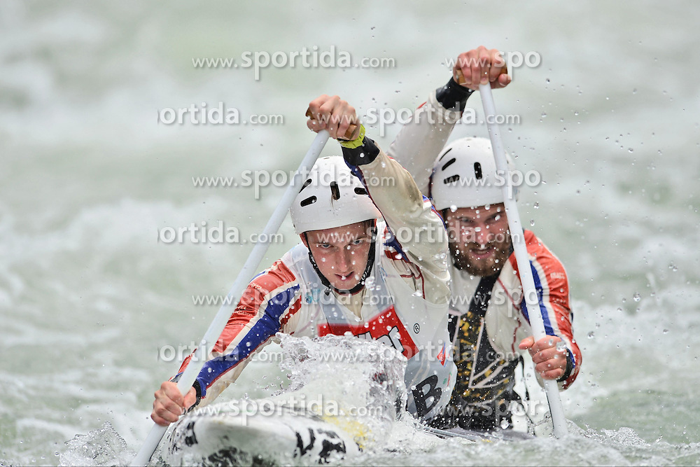 30.06.2013, Eiskanal, Augsburg, GER, ICF Kanuslalom Weltcup, Finale Kanu-Zweier Teams, Maenner. im Bild Matthew LISTER (vorne) und Rhys DAVIES (hinten) aus Grossbritannien, Finale, Team, Kanu, Canoe, C2, Teams, Herren, England // during the final of canoe double of the men kayak team of ICF Canoe Slalom World Cup at the ice track, Augsburg, Germany on 2013/06/30. EXPA Pictures © 2013, PhotoCredit: EXPA/ Eibner/ Matthias Merz<br /> <br /> ***** ATTENTION - OUT OF GER *****
