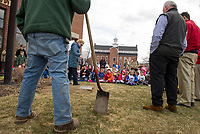 Pam Clark talks with 3rd grade students from Pleasant Street School prior to digging up the 1993 time capsule at Laconia City Hall on Wednesday afternoon.  (Karen Bobotas/for the Laconia Daily Sun)