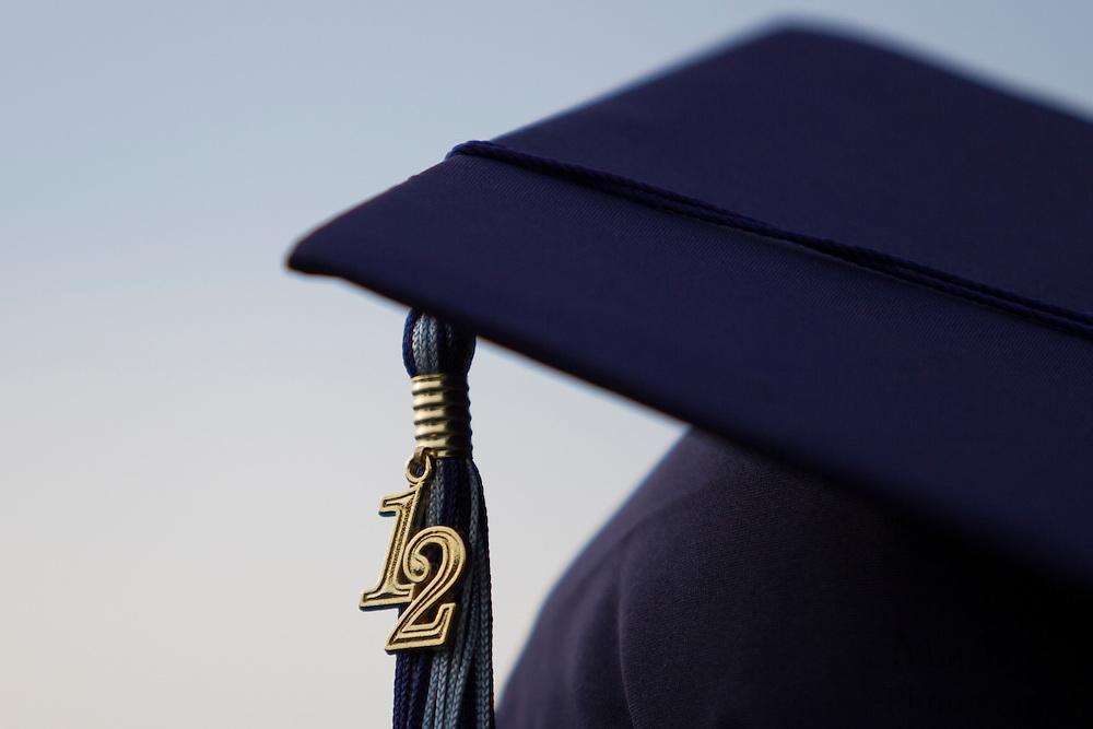 Ta'von Juston Wade's tassel hangs off his cap during Highland Regional High School graduation on Thursdays June 14, 2012 . (photo / Mat Boyle)