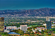 Sheraton Hotel, Universal City; CA; overlook; San Fernando Valley; Verdugo Hills, Beautiful Sunset, Dusk, San Gabriel mountains; Burbank; CA;