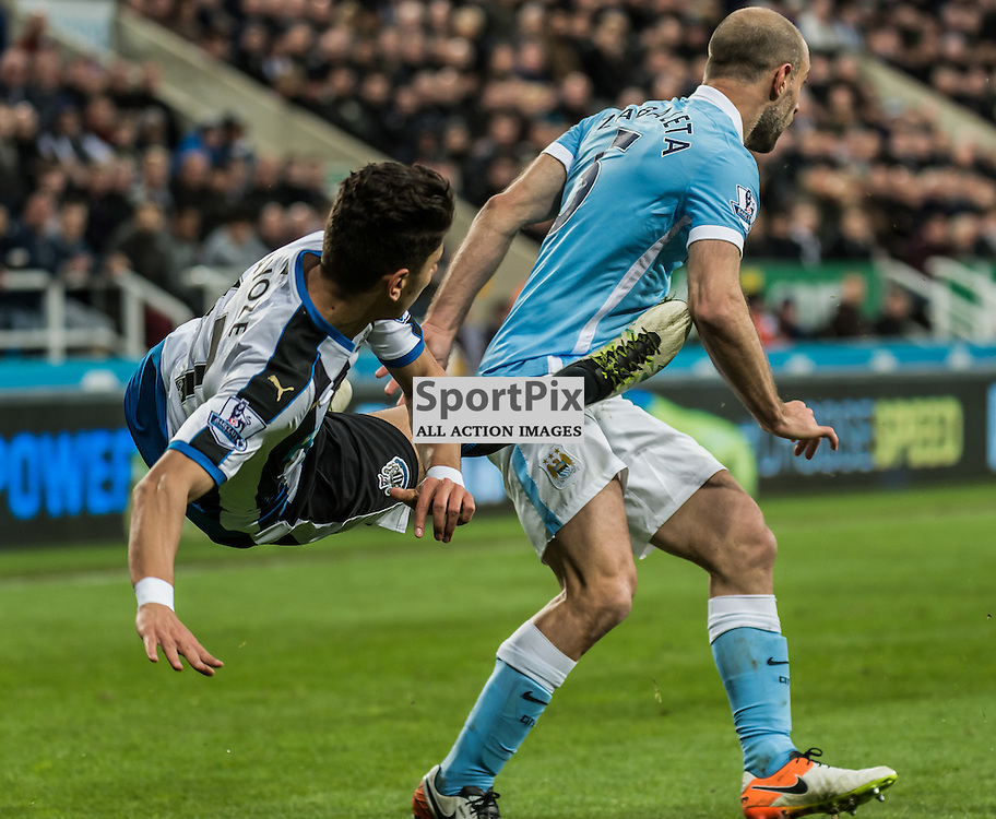 Newcastle United defender Lubomir Satka (37) and Manchester City defender Pablo Zabaleta (5) in the Premier League match between Newcastle United and Manchester City <br /> <br /> (c) John Baguley | SportPix.org.uk