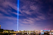 Spectra by Ryoji Ikeda, the London light installation for LIGHTS OUT looms above Westminster (as seen from Chelsea Bridge) - it was designed to be able to be seen across the city and appeared at 10 pm as part of a series of art commissions. 14-18 NOW, the official cultural programme for the WW1 centenary commemorations, has organised a number of events to mark the centenary. As part of that, LIGHTS OUT is a nationwide event which are taking place at hundreds of venues, churches, war memorials and iconic buildings across the country on 4 August between 10pm and 11pm.