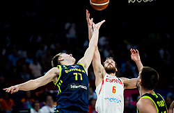 Luka Doncic of Slovenia vs Sergio Rodriguez of Spain during basketball match between National Teams of Slovenia and Spain at Day 15 in Semifinal of the FIBA EuroBasket 2017 at Sinan Erdem Dome in Istanbul, Turkey on September 14, 2017. Photo by Vid Ponikvar / Sportida