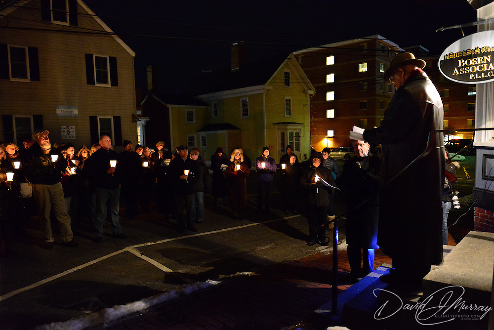 "Candlelight ceremony at the African Burying Ground site following Carlyle Brown's performance of his one-man show ""The Fula from America: An African Journey"" at The Music Hall in Portsmouth, NH, in support of the African Burying Groung Memorial."