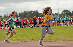 Zara Cunningham Islandeady and Sarah Dempsey  Knockmore competing in the Mixed U10 relay at the Mayo Community Games.<br /> Pic Conor McKeown