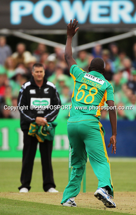South African Lonwabo Tsotsobe appeals successfully to get his hat trick. Canterbury Wizards v South Africa. International Twenty20 cricket match, Hagley Oval, Wednesday 15 February 2012. Photo : Joseph Johnson / photosport.co.nz