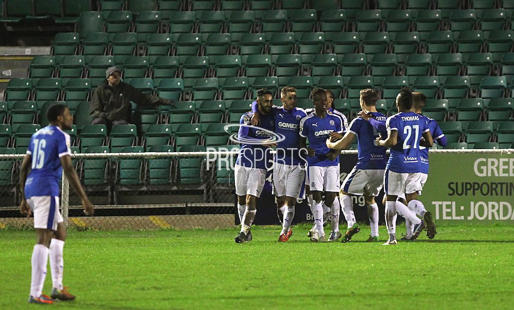 Dover striker Stefan Payne celebrates after scoring his first goal during the FA Trophy match between Whitehawk FC and Dover Athletic at the Enclosed Ground, Whitehawk, United Kingdom on 12 December 2015. Photo by Bennett Dean.