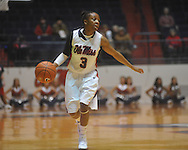 """Ole Miss' Valencia McFarland (3) vs. Mississippi State in a NCAA women's college basketball game at the C.M. """"Tad"""" Smith in Oxford, Miss. on Thursday, February 10, 2011.  Mississippi State won 59-43.."""
