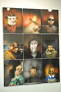 "9 Box Portraits at Artist Reception for Seeing with Photography Collective SWPC, a group of visually impaired, sighted and totally blind photographers based in NYC, on Saturday, April 28, 2012, at African American Museum, Hempstead, New York, USA, and hosted by Long Island Center of Photography. Upper right portrait is of Dale Layne, and center right is of Marion Sheppard. Aperture published the group's ""Shooting Blind: Photographs by the Visually Impaired"" in 2005."