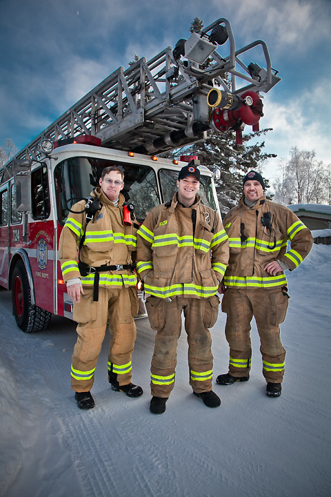 1.29.2012  Anchorage firemen from firehouse #1, Rick Erickson, Ryan Staten, and Ryan Upchurch, on Hidden Lane, South Addition, Anchorage.