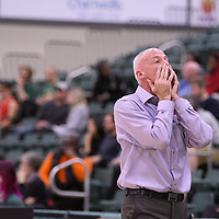 Head Coach Steve Burrows of the Regina Cougars in action during the home game on November  5 at Centre for Kinesiology, Health and Sport. Credit: /Arthur Images