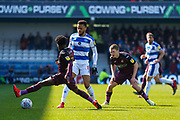 Swansea City midfielder Nathan Dyer (12), Queens Park Rangers midfielder Jordan Cousins (8) during the EFL Sky Bet Championship match between Queens Park Rangers and Swansea City at the Loftus Road Stadium, London, England on 13 April 2019.