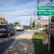 Maryland's 6th District was redistricted in 2011, combining rural northern Maryland regions with more affluent communities like Potomac and Germantown. A street sign points to two communities in the 8th congressional district. Potomac is split between the 6th and the 8th districts.<br /> Tuesday, September 26, 2017. CREDIT: John Boal for The Wall Street Journal<br /> GERRYMANDER