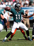 Philadelphia Eagles quarterback Carson Wentz (11) throws a 22 yard pass good for a third quarter first down during the 2016 NFL week 1 regular season football game against the Cleveland Browns on Sunday, Sept. 11, 2016 in Philadelphia. The Eagles won the game 29-10. (©Paul Anthony Spinelli)