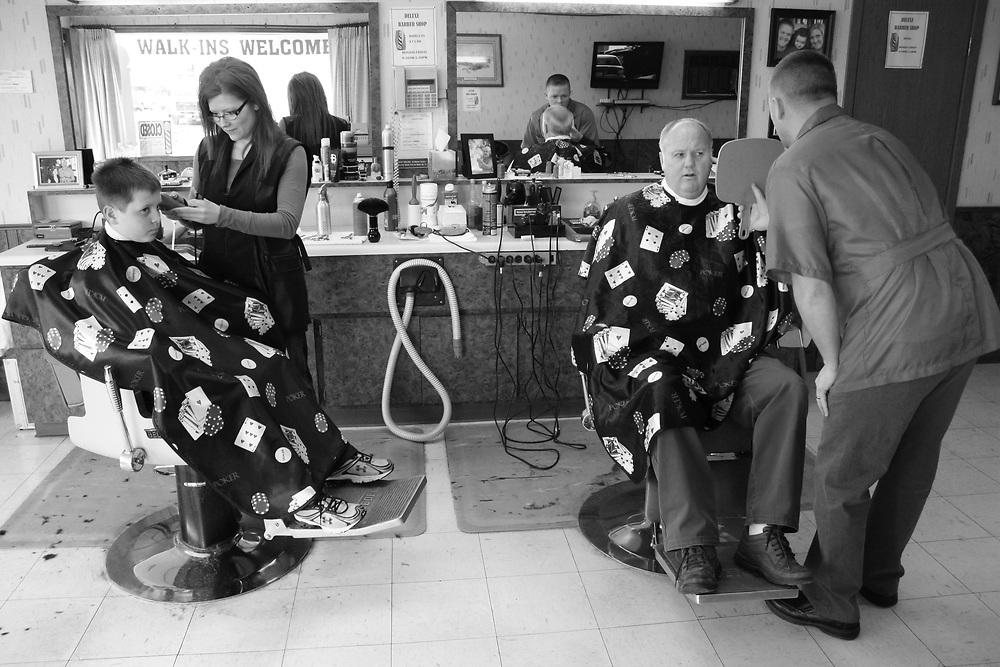 Barbers Tina Kawlewski and Tyler Underdahl