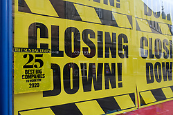 General views of Stirling City centre and shops during the Coronavirus outbreak, 18 March 2020<br /> <br /> Pictured: A shop sign in Stirling. Despite being named in the top twenty-five best big companies to work for, the store is closing down<br /> <br /> Alex Todd | Edinburgh Elite media