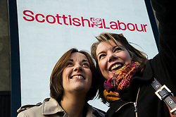 Pictured: Kezia Dugdale and the inevitable selfie<br /> <br /> Scottish Labour leader Kezia Dugdale today launched a new billboard poster for the final weekend of campaigning before the Scottish Parliament election on Thursday 5 May. She was joined by supporters and fellow candidates such as Sarah Boyack; Lesley Hinds and Daniel Johnston<br /> <br /> Ger Harley | EEm 30 April 2016