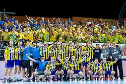 Players of RK Celje Pivovarna Lasko celebrate aftrer handball match between RK Celje Pivovarna Lasko vs RK Gorenje Velenje of Super Cup 2015, on August 29, 2015 in SRC Marina, Portoroz / Portorose, Slovenia. Photo by Urban Urbanc / Sportida