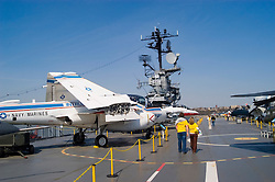 New York City, New York:  Intrepid aircraft carrier as air, sea, and space museum.  Aircraft on deck  .Photo #: ny306-15129  .Photo copyright Lee Foster, www.fostertravel.com, lee@fostertravel.com, 510-549-2202.