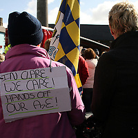People used their voices through posters and banners during the hospital protest rally in Ennis on Satruday.<br /> Photograph by Yvonne Vaughan