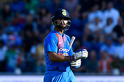 Wicket - Virat Kohli (captain) of India walks back to the pavilion after being dismissed by David Willey of England during the International T20 match between England and India at the SWALEC Stadium, Cardiff, United Kingdom on 6 July 2018. Picture by Graham Hunt.