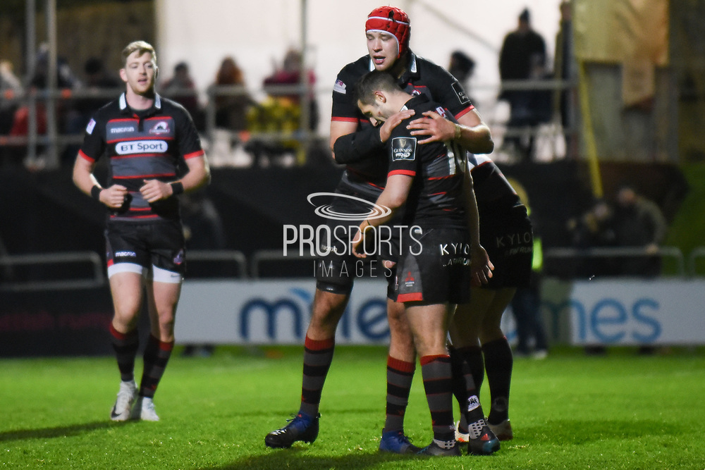 Try scorer Jason Tovey is congratulated by captain Fraser McKenzie during the Guinness Pro 14 2017_18 match between Edinburgh Rugby and Ospreys at Myreside Stadium, Edinburgh, Scotland on 4 November 2017. Photo by Kevin Murray.