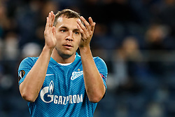 October 4, 2018 - Saint Petersburg, Russia - Artem Dzyuba of FC Zenit Saint Petersburg gestures during the Group C match of the UEFA Europa League between FC Zenit Saint Petersburg and SK Slavia Prague at Saint Petersburg Stadium on October 4, 2018 in Saint Petersburg, Russia. (Credit Image: © Mike Kireev/NurPhoto/ZUMA Press)