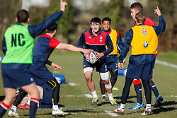 England U20 Flanker Archie White (Harlequins) in action during a session at Bristol Rugby's training facility ahead of the U20 Six Nations match versus Wales - Mandatory byline: Rogan Thomson/JMP - 08/03/2016 - RUGBY UNION - Clifton Rugby Club - Bristol, England - England Under 20s Training at Bristol Rugby.