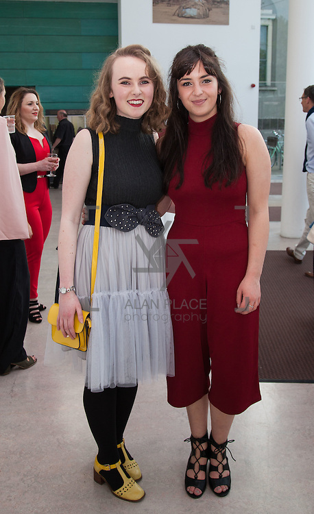 13.05.2016.           <br /> Isabel Gray, Athlone and Saffron King, Wexford pictured at the much anticipated Limerick School of Art & Design, LIT, (LSAD) Graduate Fashion Show on Thursday 12th May 2016. The show took place at the LSAD Gallery where 27 graduates from the largest fashion degree programme in Ireland showcased their creations. Ranked among the world's top 50 fashion colleges, Limerick School of Art and Design is continuing to mould future Irish designers.. Picture: Alan Place/Fusionshooters
